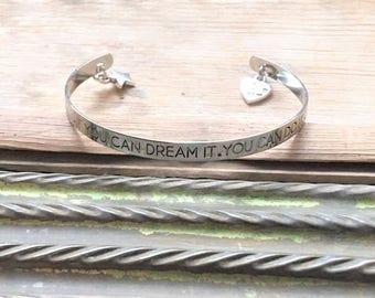Inspiration Jewelry, Inspirational Bracelet, Quote Bracelet, Quote Jewelry, Stamped Bracelet, Stamped Jewelry, 4H, FFA Jewelry, FFA, Cuff