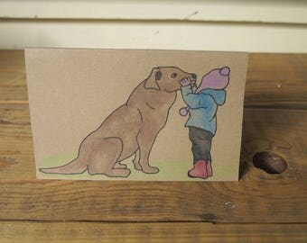 Child with dog - Handmade card