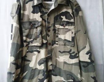 Camof jacket FieldShirt Camo Shirt M Camouflage Mens Army Shirt Slim Fit  S-M