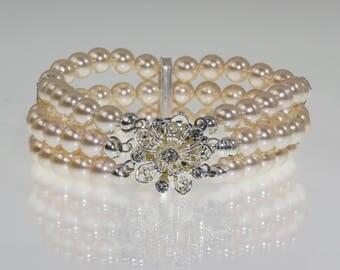 Bridal bracelet, cuff pearl and crystal bracelet, triple strand, Art Deco, custom colours Ivory, cream, pink, brides, bridal jewelry,