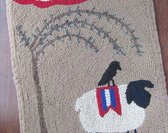 Hooked Rug Pattern for Patriotic Sheep under Willow Tree with a Crow~ Instant Download ~ Digital Pattern ~ Rug Hooking Pattern ~ pdf pattern