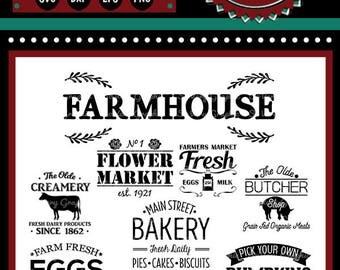Vintage Farmhouse Bundle | 9 Cutting & Printable Files | svg | eps | png | dxf | Cutting Files | Bakery | Farmers Market |  Fresh Eggs