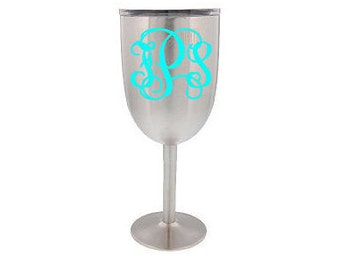 True North stainless steel wine tumbler 10 oz. Wine cup with monogram or logo. Stainless insulated wine glass with name or monogram.