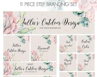 Rustic Etsy Set - Cactus Etsy Shop Set - Succulent Etsy set - Etsy Branding - 11 Piece Etsy Set