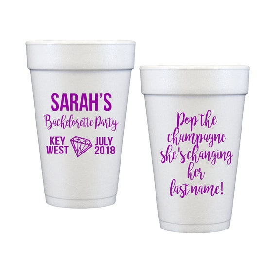 Bachelorette bash cups bachelorette party cups key west bachelorette weekend cups party favor cups pop the champagne bride tribe cups