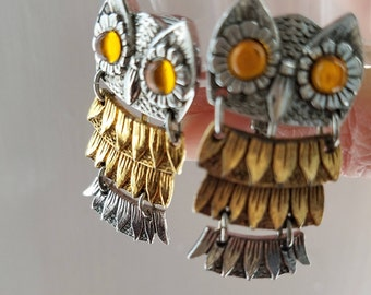 Vintage Park Lane Silver and Gold owl clip-on earrings with amber cabochon eyes