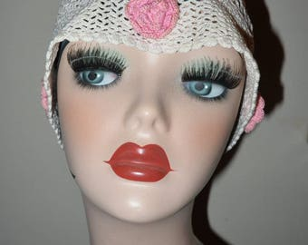 Adorable Vintage 1920's Crochet Boudoir Cap Hat with Rosettes