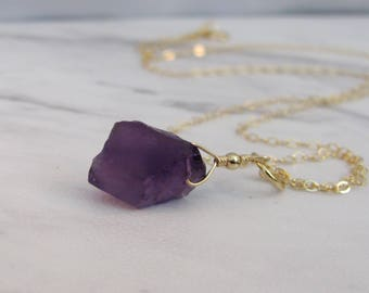 Raw Amethyst Necklace, Amethyst Crystal Necklace, Raw Stone Jewelry, Natural Gemstone, Crystal Jewelry, Sterling Silver, Gold, Boho Necklace