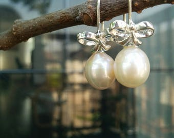 Silver Bows with Pink Fresh Water Pearls Drops