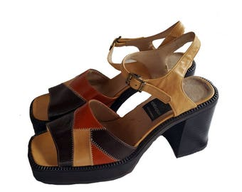 90s does 60s Patchwork Platform Sandals