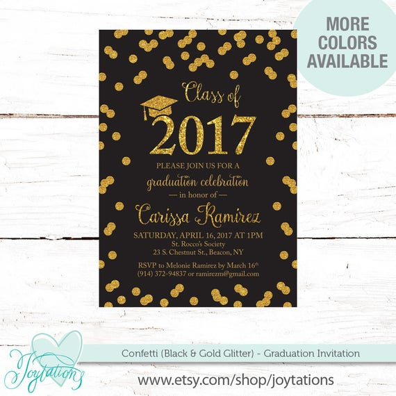 Black confetti graduation party invitation gold glitter or silver il570xn filmwisefo