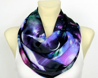 Ultra Violet Scarf Moon Scarf Galaxy Print Scarf Space Scarf Satin Infinity Scarf Inspirational Women Gift Mom from Daughter from Son