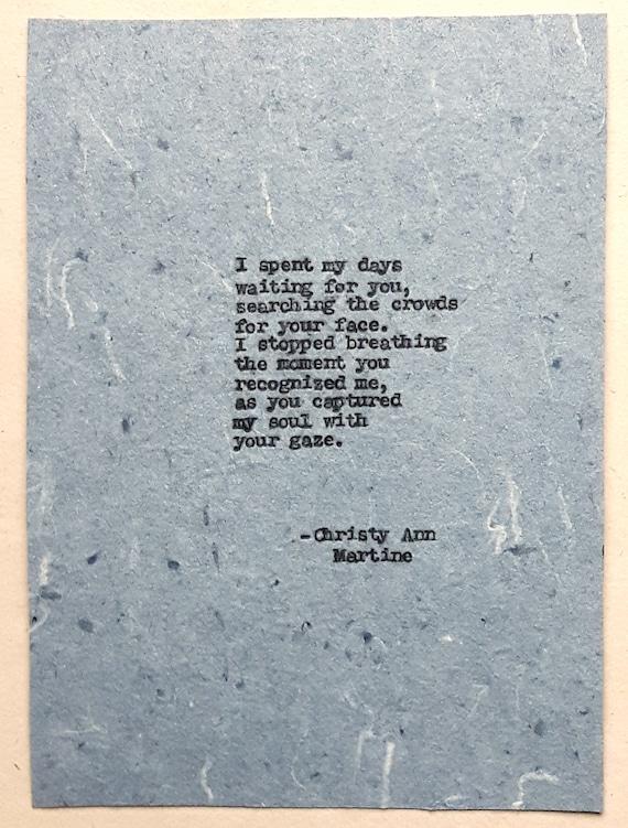 Romantic Gift for Boyfriend or Girlfriend - Love Poem Soulmates True Love Romance Poems - Paper Anniversary Gifts