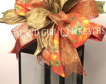 Fall Wreath Bow, Fall lantern Bow, Fall Ribbon, Fall Wired Ribbon Bow, Autumn Wreath Bow