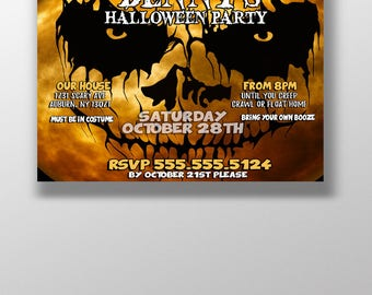 Scary halloween party invites, freaky halloween invitations, horror invites, unique halloween party invitations, scary invites, skull invite