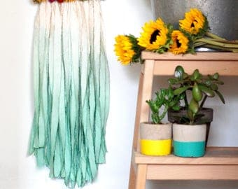 White andSeafoam Green Triangle Dream Catcher with Dried Flowers