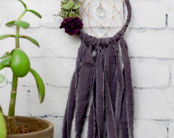 Charcoal Grey Mini Dream Catcher- Rearview Mirror Dream Catcher
