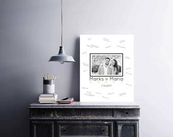 Wedding Photo Sign Guest Book, Canvas, Polaroid, Anniversary Gift, Signature Guest Book, Alternative Guest Book, Guest Book Ideas - 52677