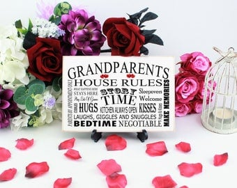 Grandparents House Rules, Sign, Grandparent Gifts, Grandparent Sign, House rules, Grandparent Decor, Grandparents' rules ,336