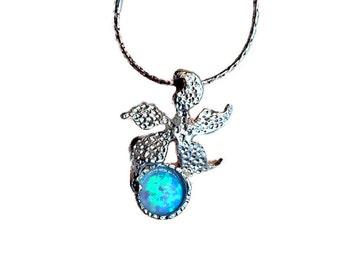Sea star necklace, Opal necklace, Blue opal necklace, Starfish, Necklace for women, Opal for women, Handmade opal necklace, Gift necklace