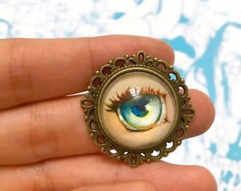 Ocean Blue Lover's Eye - Handmade Brooch