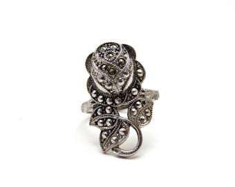 Silver Marcasite Rose Ring