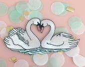 Love Swans Patch - Iron-On - Embroidered Applique - Patches - Wedding - Bride - Bridal - Wildflower + Co.