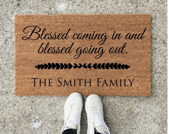 Custom Door Mat, Personalized Doormat, Door Mat, Doormat, Door Mat Personalized, Scripture, Blessed Coming In and Going out, Christian Gifts