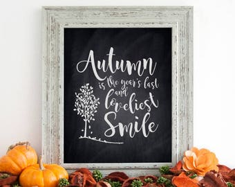 """Autumn Fall September Decor Sign. Autumn Leaves, DIGITAL PRINTABLE File Only, 8x10"""" Holiday Decor Sign"""