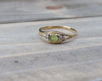 Peridot and Diamond Ring 14k yellow gold August birthstone green