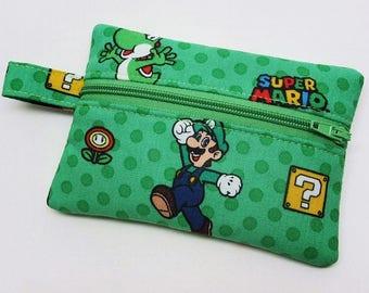 Coin purse, zipper pouch, zipper purse, change wallet, Mario Bross coin purse, gamer coin wallet, kids coin purse, Mario Bross wallet