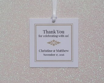 ELEGANT Wedding Favor Tags *Thank You Wedding Favor Tags *Gold Tone & Black Favor Tags  *PERSONALIZED