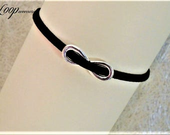 Infinity Anklet∫Black Suede Anklet∫Light-Weight Simple Summer Anklet∫Boho Anklet Chain∫Soft Everyday Anklet∫Suede Ankle Bracelet [Sizes]