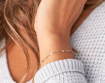 Gold Chain Bracelet, Delicate Chain - Thin Chain Bracelet, Stacking Bracelets, Layering Bracelet, Minimal, Mothers Gift, Mom Gift