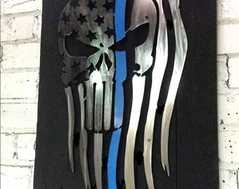 Metal Tattered Punisher flag with Thin Blue Line w/ reclaimed wood frame, American, rustic, skull, first responder, police, USA, steel,