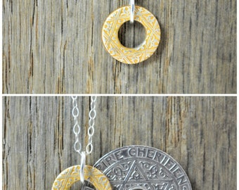 Moroccan Coin Necklace, Gold Coin Necklace, Coin Art, Morocco, Silver Coin, Moroccan Art, Boho Necklace, Two-Sided, Coin Charm, Charm
