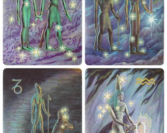 Zodiac - Artist G. Glebova - Set of 16 Vintage Soviet Postcards, 1978. Astronomy of Ancient World Dendera zodiac Astrological sign Art Print