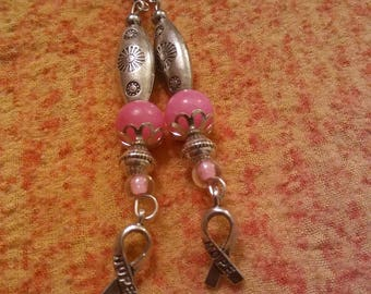 Breast Cancer Awareness - Handmade earrings by Ansley Jukeboxx Joye