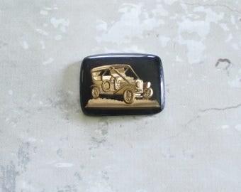 Vintage Black Gold Glass Ford Model A Roadster Intaglio Antique Ford Roadster Flat Back Cabochons 27mm (1 pc) 29V4