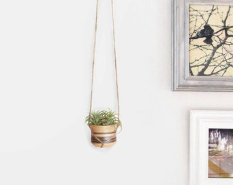Vintage Sandstone Planter | Small Wall Hanging Planter | Brown and Beige Plant Pot and Macrame Jute Hanger | Rustic Home Decor
