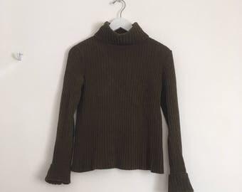 vintage 90's EDDIE BAUER ribbed knit turtle neck top // minimalist grunge