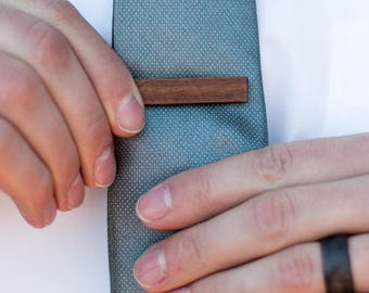 Wood Tie Clip - Walnut