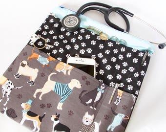 DOG Stethoscope Pouch. Stethoscope Case. Stethoscope Bag. Dog Bag. Vet Tech Gift. Vet Gift. Nurse Gift. Nurse Organizer.Dog Lover Bag.RN Bag