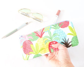 PINEAPPLES Pouch. Cute Pineapple Bag. Bachelorette Gift. Bachelorette Party. Cute Pencil Pouch. Small Pencil Case. Pineapple Pencil Case Bag