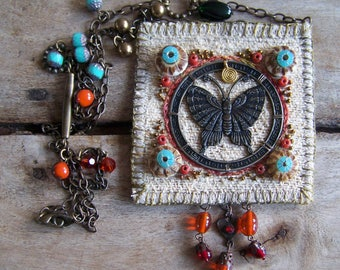 BUTTERFLY ..... boho necklace with a butterfly as a symbol