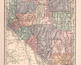 Old Nevada Map Etsy - Nevada map