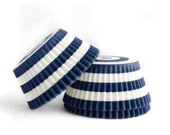 Navy Striped Cupcake Liners // Navy Blue Baking Cups (Qty 50)