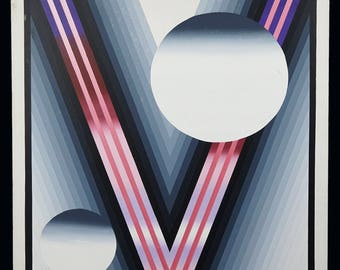 Dallao Geometric Abstraction Oil Painting Retro 1980s Mid Century Modern Decor MCM MOD Abstract Art