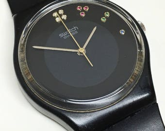Vintage Swatch Watch Sir Limelight  GB106 1985 Christmas Special Black Jewels Diamonds Rubies Emeralds Sapphires Retro Gift