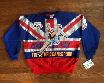 Vintage 1980s ADIDAS London Olympic Games All Over Print Crewneck SWEATSHIRT Size Small NOS New With Tags Nike Embroidered Deadstock